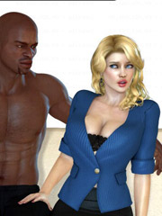Blonde cartoon milfs can't stand their desire and willingly going wild with black guys.
