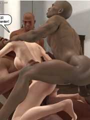 Black cum loving 3d white milf forced to fuck with three black dudes at the same time.
